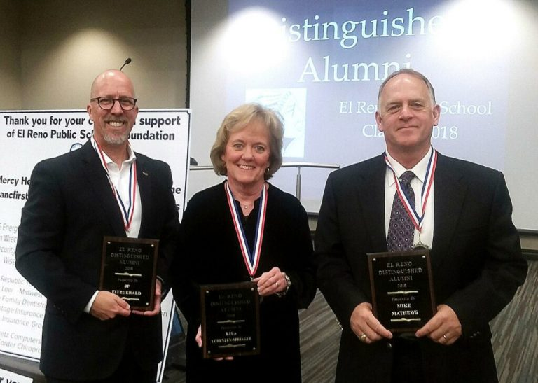 DA-2018-From-left-J.P.-Fitzgerald-Lisa-Springer-and-Mike-Mathews-were-honored-as-the-2018-El-Reno-High-School-Distinguished-Alumni-Courtesy-Shane-Smith-1024x729